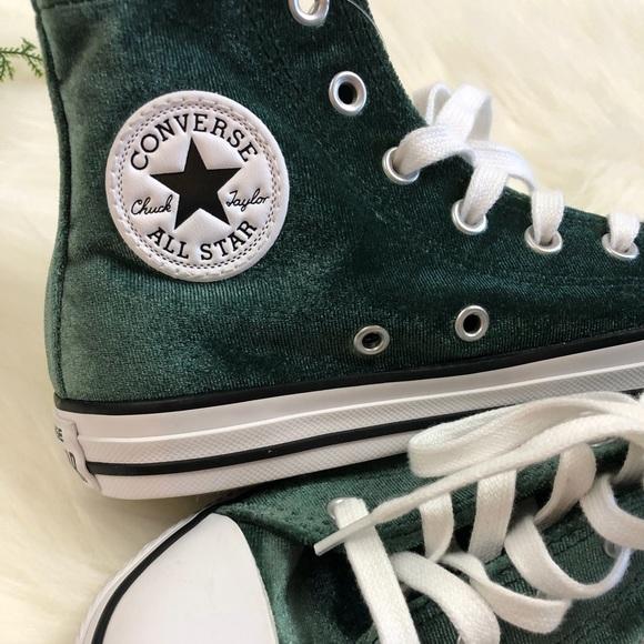 e5b62b6b5bb1 Converse Other - Green Velvet Converse High Tops Size 2 Junior NWOT